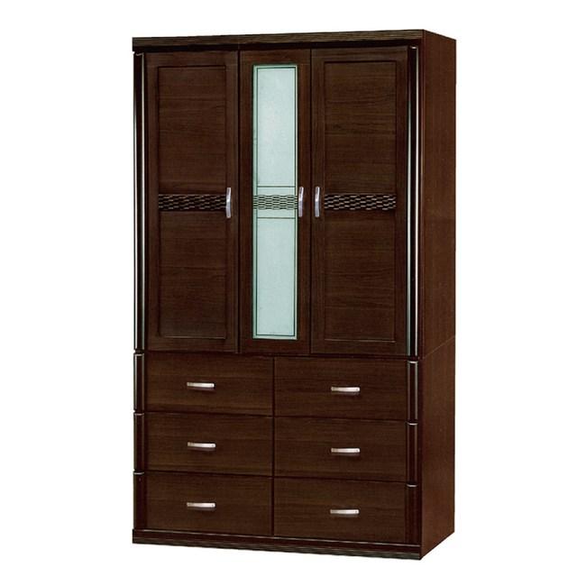 【YFS】席爾維斯特4尺胡桃編織六抽衣櫃-118x57x197cm