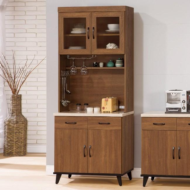 【YFS】加爾淺胡桃2.7尺碗盤櫃全組-80.8x43x202.2cm
