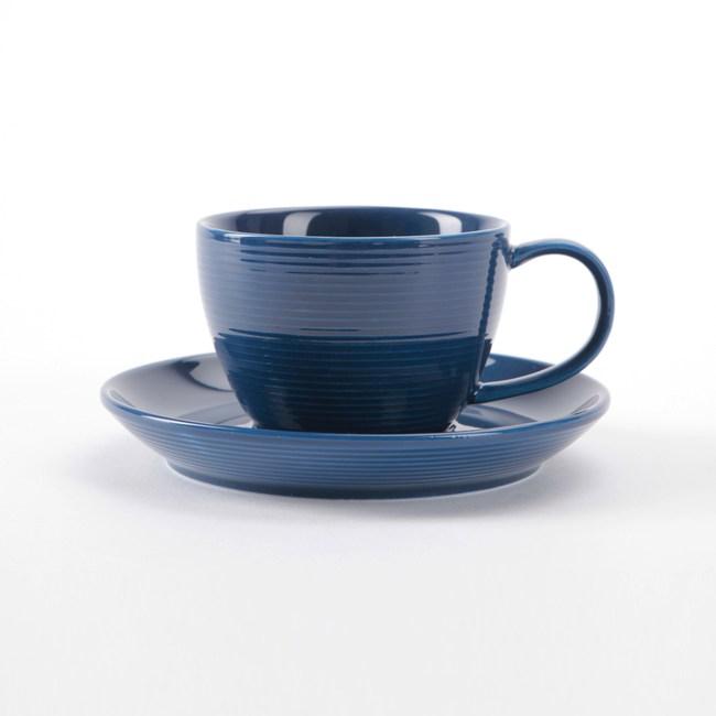 HOLA 璞真純色杯碟組 250ml 深藍