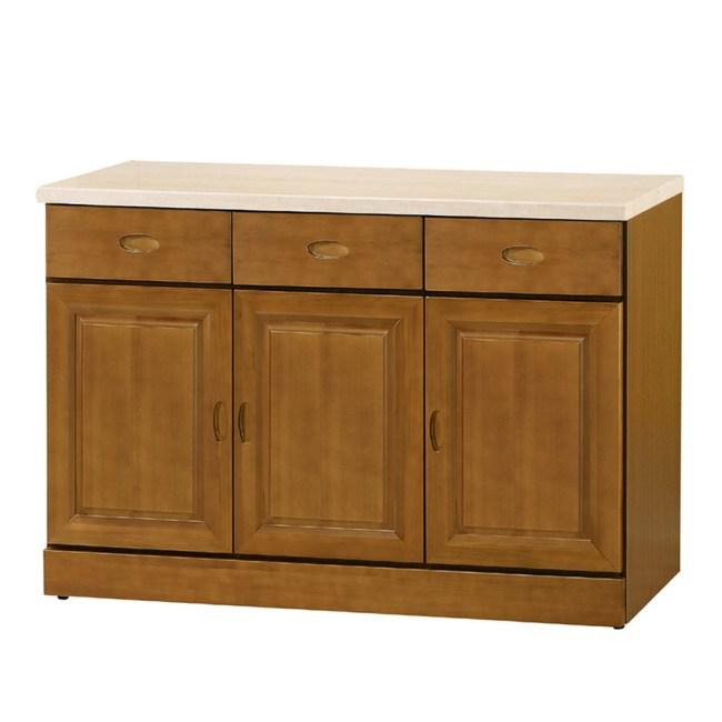 【YFS】卡拉樟木4尺仿石紋碗盤櫃-121x43x82.3cm
