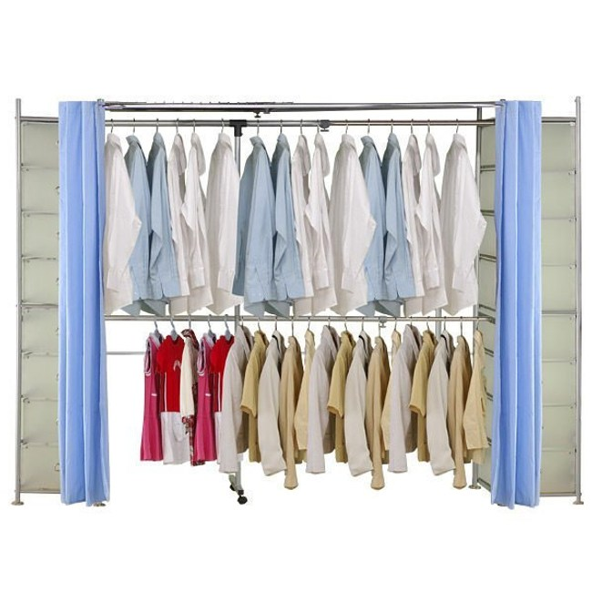 巴塞隆納─AH-35伸縮衣櫥 前布簾水藍色不織布