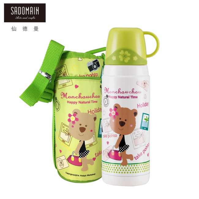 【仙德曼 SADOMAIN】法國浣熊寶貝真空保溫瓶-綠色600ml
