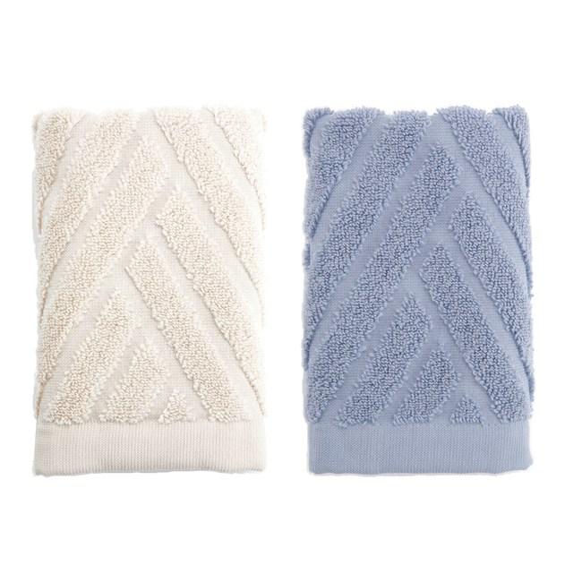 (組)葡萄牙純棉方巾33x33-斜角藍x1+斜角米x1