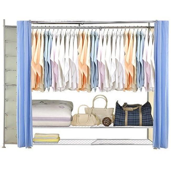 巴塞隆納─AH-39伸縮衣櫥 前布簾水藍色不織布