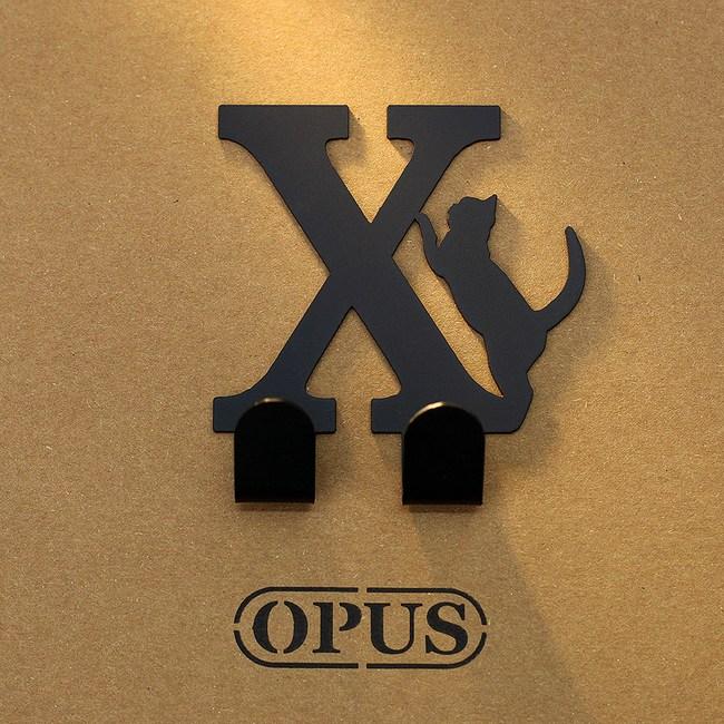 OPUS 歐式鐵藝壁飾掛勾/無痕掛鉤(當貓咪遇上字母X)黑