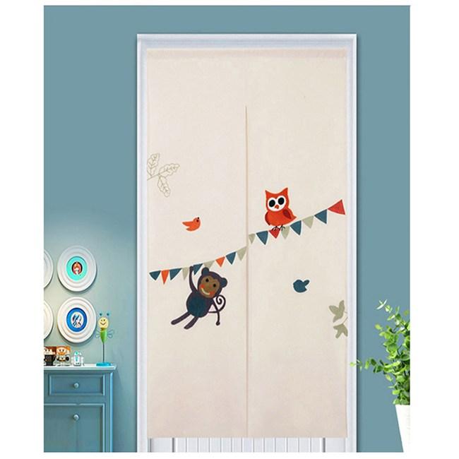 【三房兩廳】日式刺繡門簾-動物樂園-85×150cm