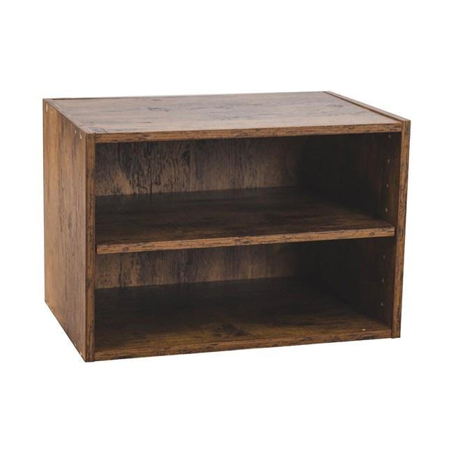 樂嫚妮 二層收納空櫃 書櫃 置物櫃-仿木色仿木色