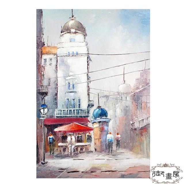 御畫房 手繪無框油畫-城市一角 60x90cm