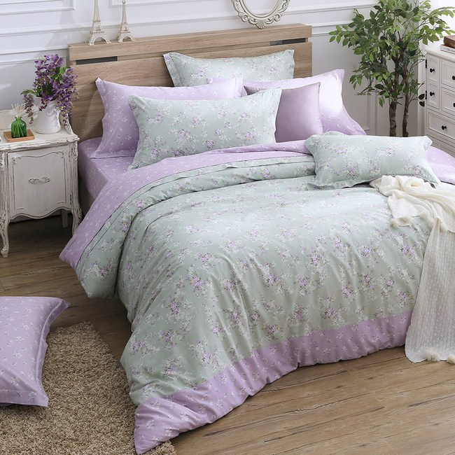 MONTAGUT-摩洛哥花茶-200織精梳棉被套床包組(紫-單人)