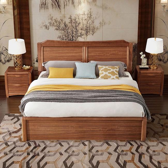 林氏木業中式烏金木色實木框弧形背靠雙人5尺掀床組 CU3A