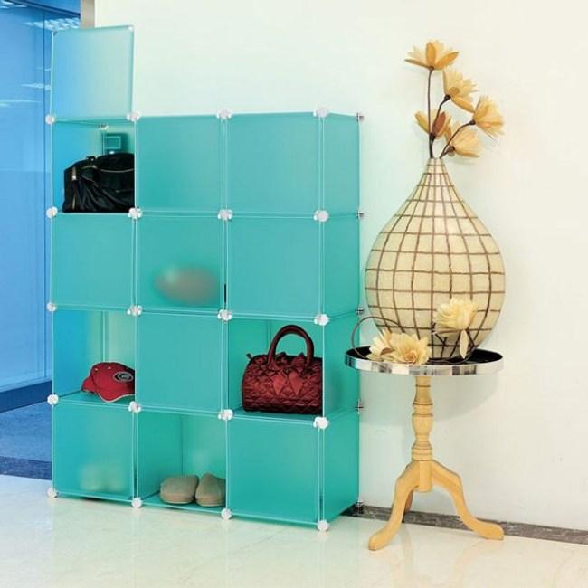 【H&R安室家】12格12門收納櫃-12吋百變組合櫃綠色