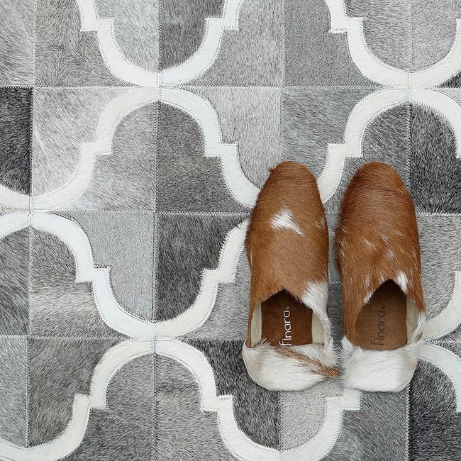 【Finara】布達佩斯-北歐灰-天然牛皮短毛床邊地毯(150×90)