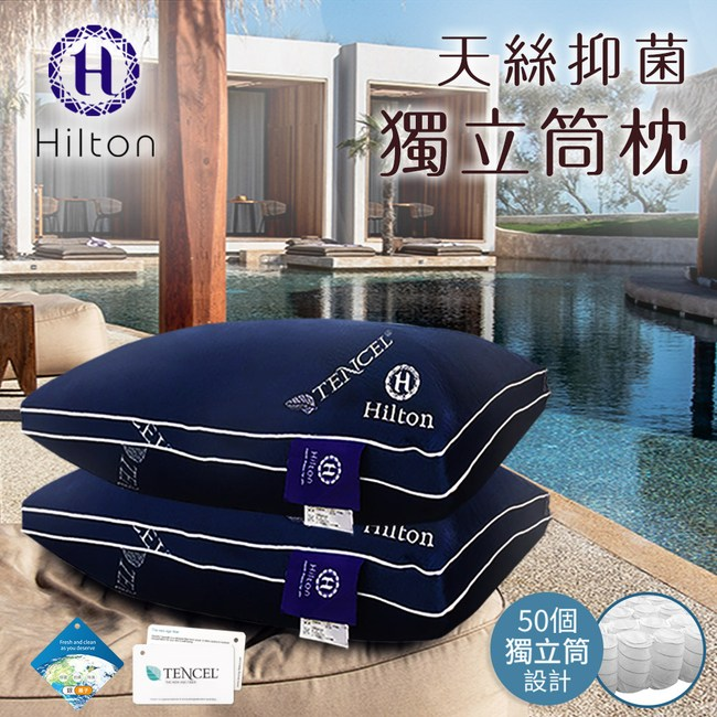 【Hilton 希爾頓】舒柔彈性透氣天絲抑菌獨立筒枕