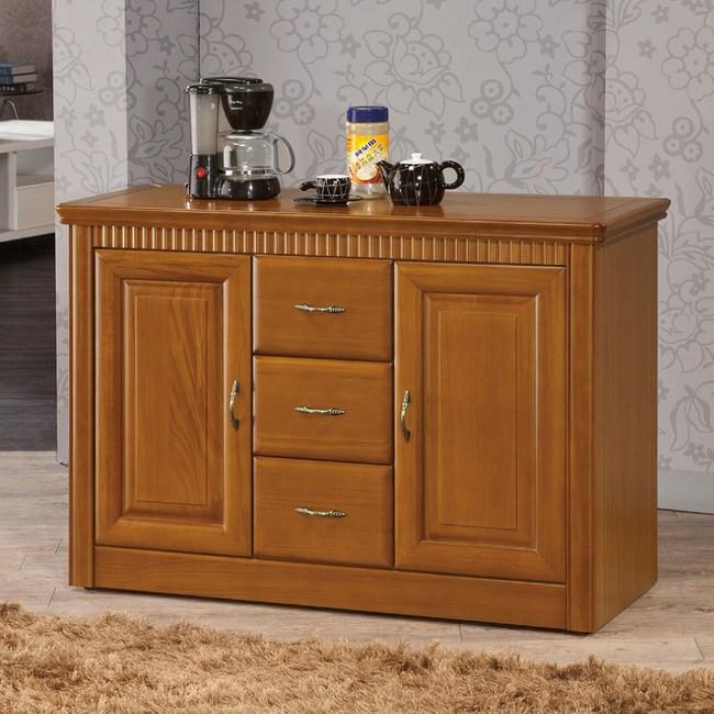 【YFS】約克實木柚木色4尺碗盤櫃-117x46x82cm