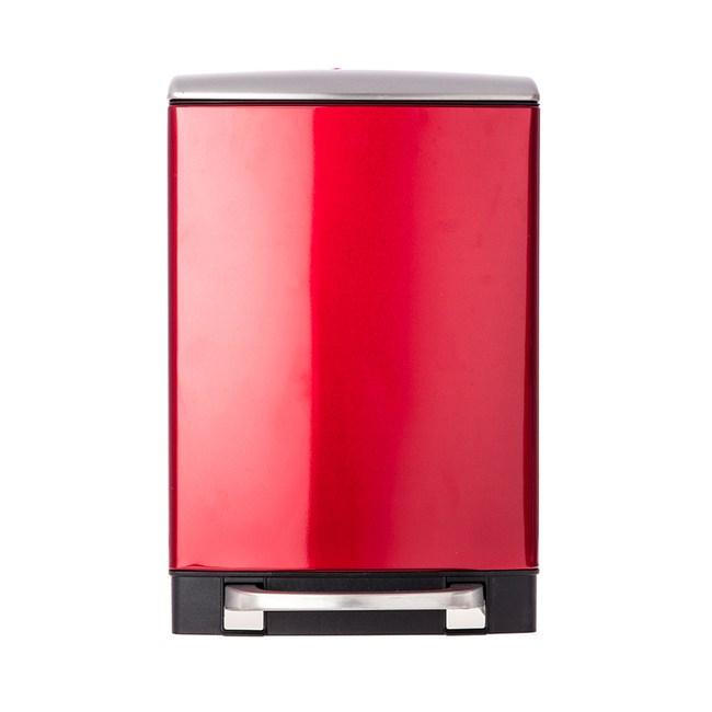 HOLA 蘿拉方形緩降金屬垃圾桶6L-紅色