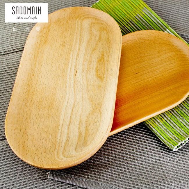【仙德曼 SADOMAIN】山毛櫸原木餐具橢圓盤-大(買一送一)
