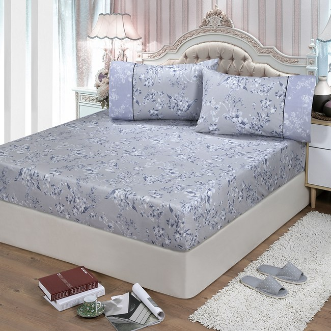 【FITNESS】精梳棉單人床包+枕套二件組-莉蒂亞(灰)