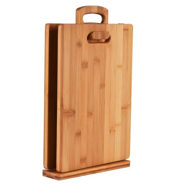 吊掛式生熟食竹砧板架附兩入砧板