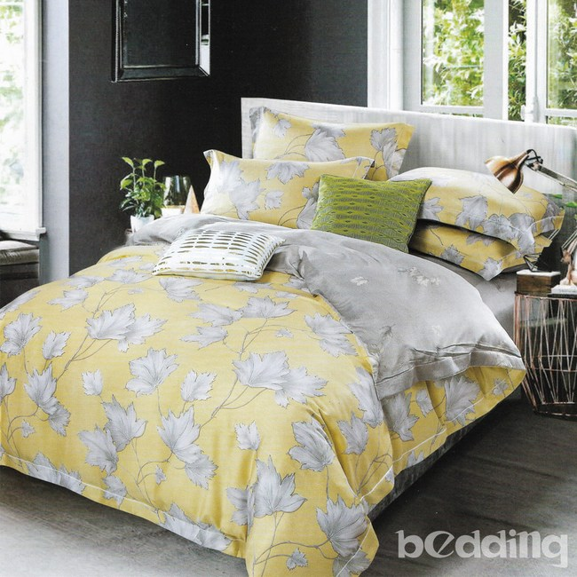 BEDDING-100%天絲植物花卉四件式涼被床包組-洛西黃(雙人)