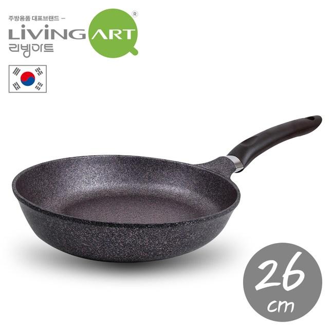 韓國【LIVING ART】超硬鑄造Inoble不沾平煎鍋-26cm