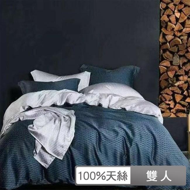【貝兒居家寢飾生活館】100%萊賽爾天絲兩用被床包組(雙人/一彎心跡)