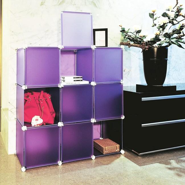 【ikloo】9格9門收納櫃/組合櫃(浪漫紫)