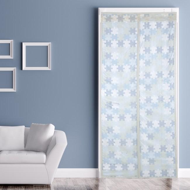 靜音防蚊門簾 拼圖藍風格款 90x210cm