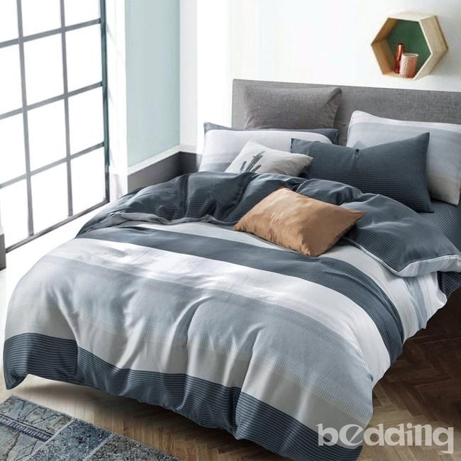 BEDDING-100%天絲二件式枕套床包組-時尚先生藍(單人)
