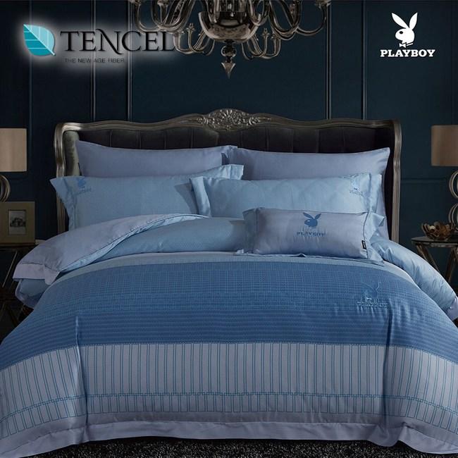 【貝兒寢飾】PLAYBOY 60支萊賽爾天絲兩用被床包+刺繡抱枕五件組(雙人/頃世流年藍)