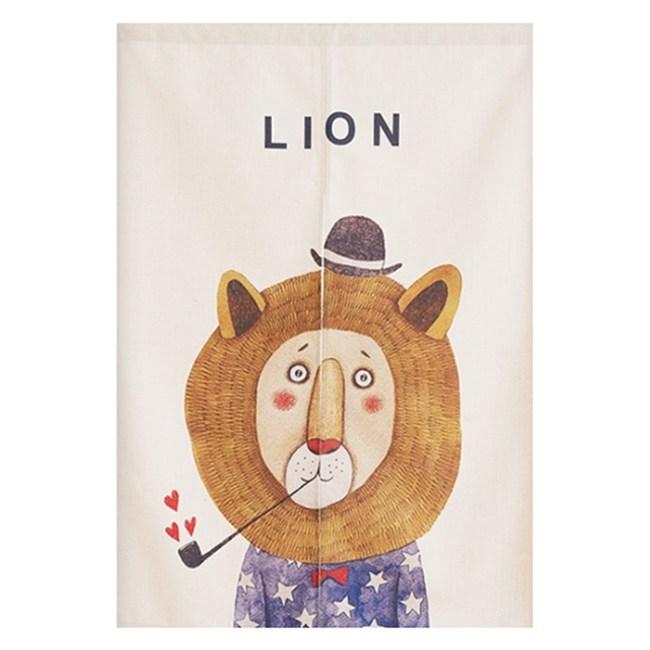 【Loviisa 愛煙斗的獅子】開運棉麻門簾 窗簾 韓版風水簾送伸縮桿85x120cm