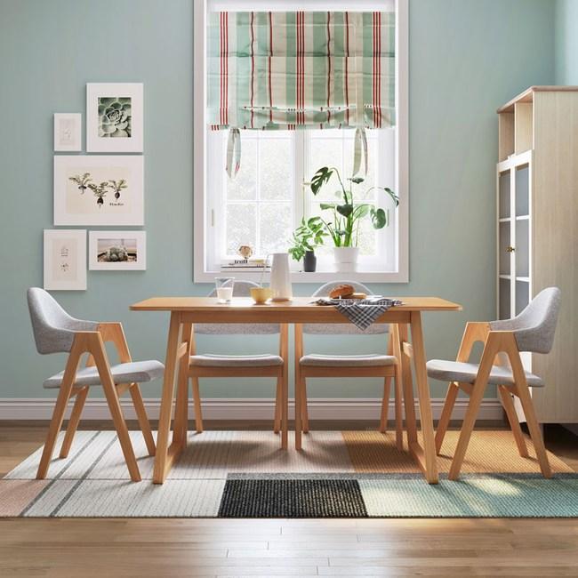 林氏木業北歐清新白橡木餐桌 1.5M LS046+餐椅 (一桌四椅)-原木色
