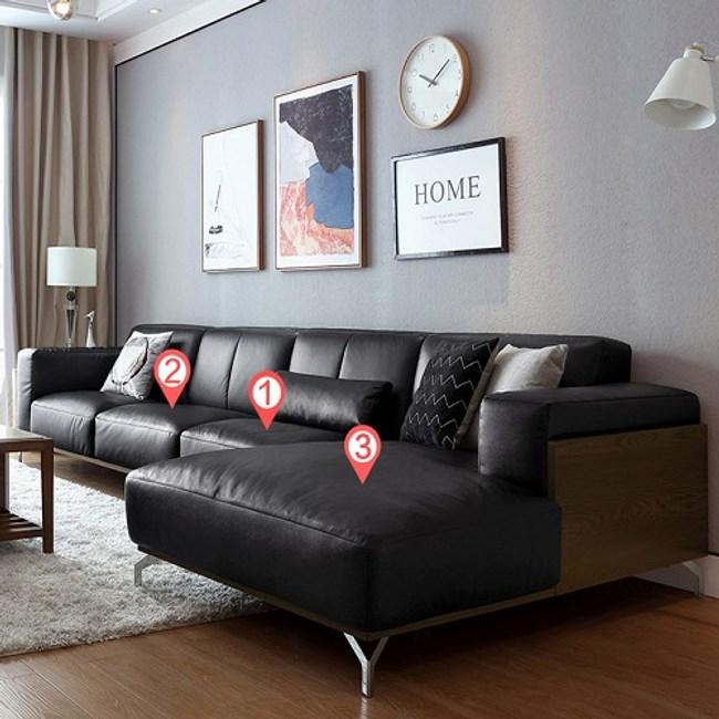 林氏木業奢華歐式頭層牛皮L型左貴妃四人皮沙發(附抱枕)2090-黑色
