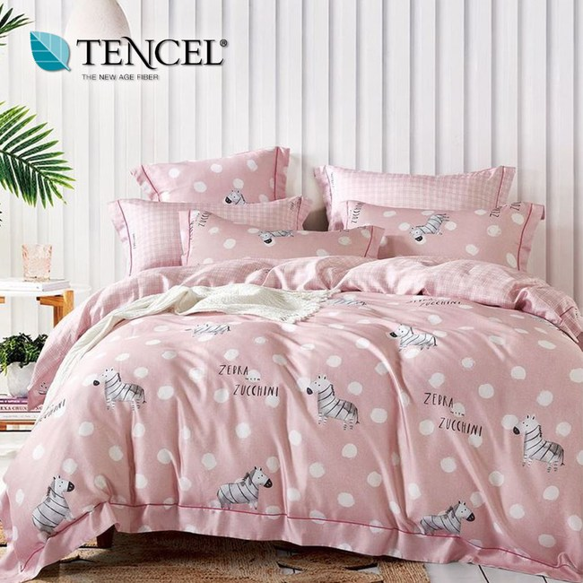 【貝兒居家寢飾生活館】100%萊賽爾天絲兩用被床包組(加大/米卉粉)