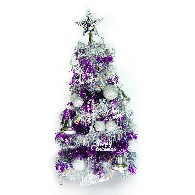 【摩達客】台灣製繽紛2尺(60cm)紫色金箔聖誕樹(銀色系裝飾/不含燈)