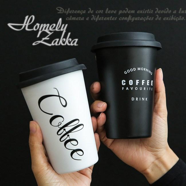 【Homely Zakka】都會簡約矽膠杯蓋304不鏽鋼杯480ML隨機不挑色2入組