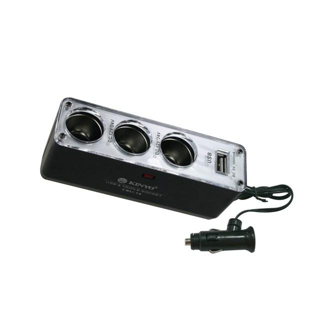 KINYO 3孔點煙器擴充座+USB充電孔CRU-16