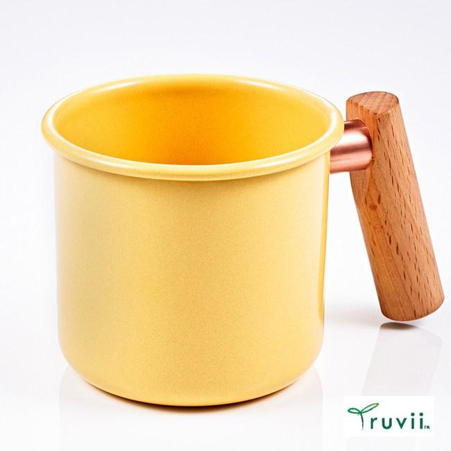 Truvii 木柄琺瑯馬克杯400ml(奶油黃)