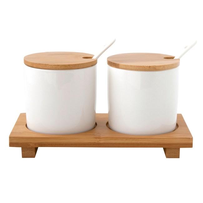 簡約陶瓷調味罐附匙2入組附托盤