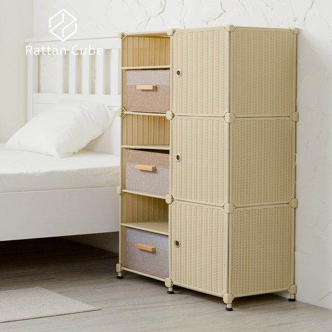 【藤立方】組合3層6格收納置物架(3門板+3置物盒+調整腳墊)-自然色-DIY