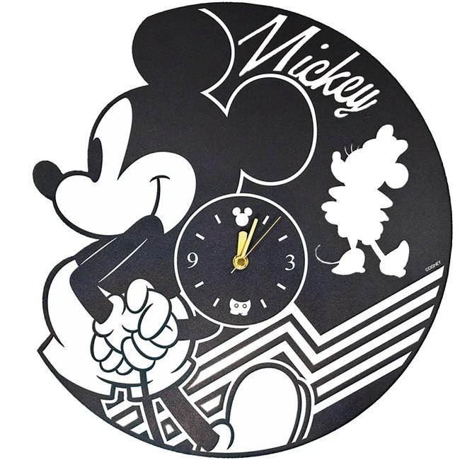 HOLA 迪士尼系列黑膠造型靜音壁鐘-米奇