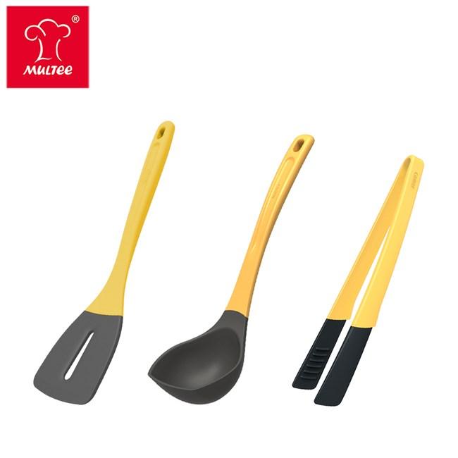 【MULTEE 摩堤】烹飪工具組-A4煎鏟+A4湯勺+料理夾(共3支)料理夾-鵝黃