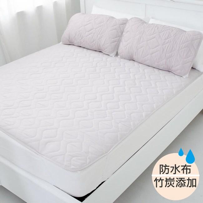 【eyah】台灣嚴選竹炭超防水舖棉QQ保潔墊-平單式單人