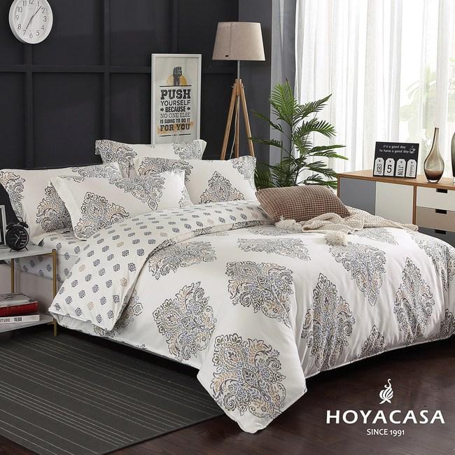 【HOYACASA-奢享】雙人四件式300織抗菌精梳長絨棉兩用被床包組