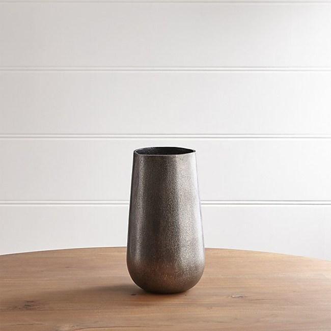 Crate&Barrel Element金屬花器 古錫銀