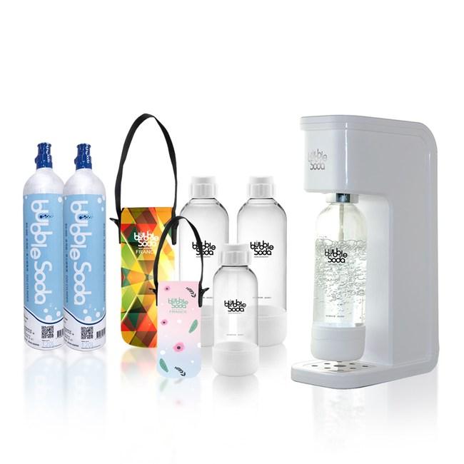 法國BubbleSoda 全自動氣泡水機-經典白大氣瓶超值組合
