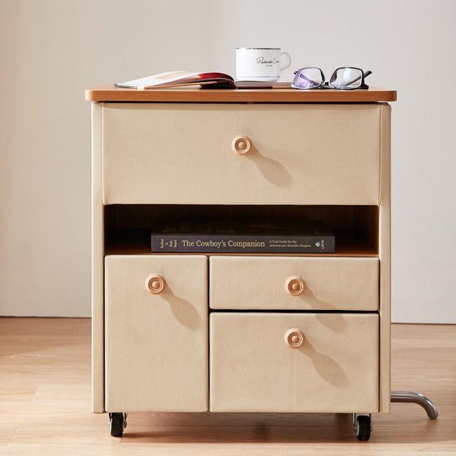 林氏木業 現代簡約多功能百變收納移動式床頭櫃A105-A-米黃色