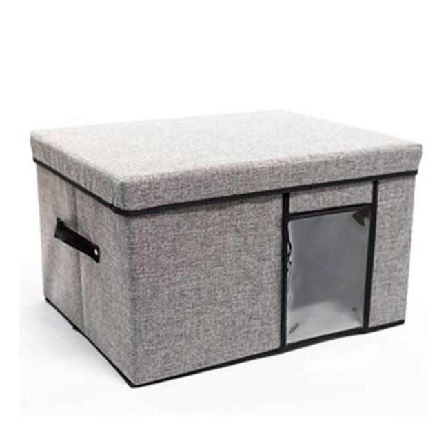 日式透明布質收納箱-灰色