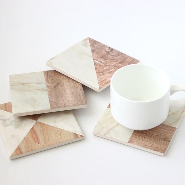 木石紋理陶瓷杯墊 混款