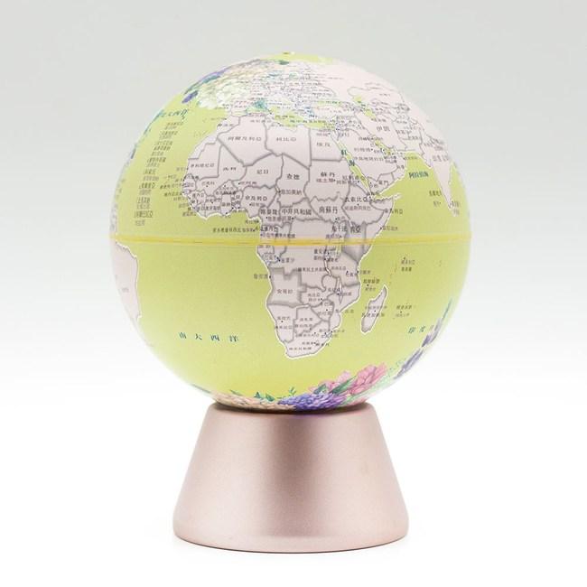 SkyGlobe 5吋綠花朵音樂鈴發光玫瑰金底座地球儀(中文版)-月亮