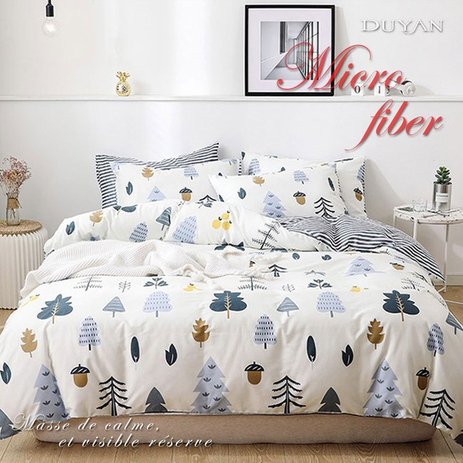 《DUYAN 竹漾》舒柔棉雙人加大床包三件組-栗松秘境 台灣製